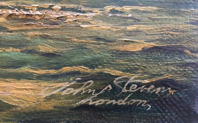 REGATTA IN THE GULF - John Stevens Italian sealing boat oil on canvas painting For Sale 5