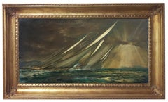 REGATTA IN THE GULF - John Stevens Italian sealing boat oil on canvas painting