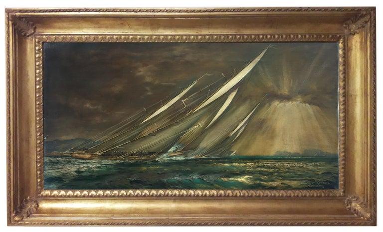 REGATTA IN THE GULF - John Stevens Italian sealing boat oil on canvas painting - Painting by John Stevens