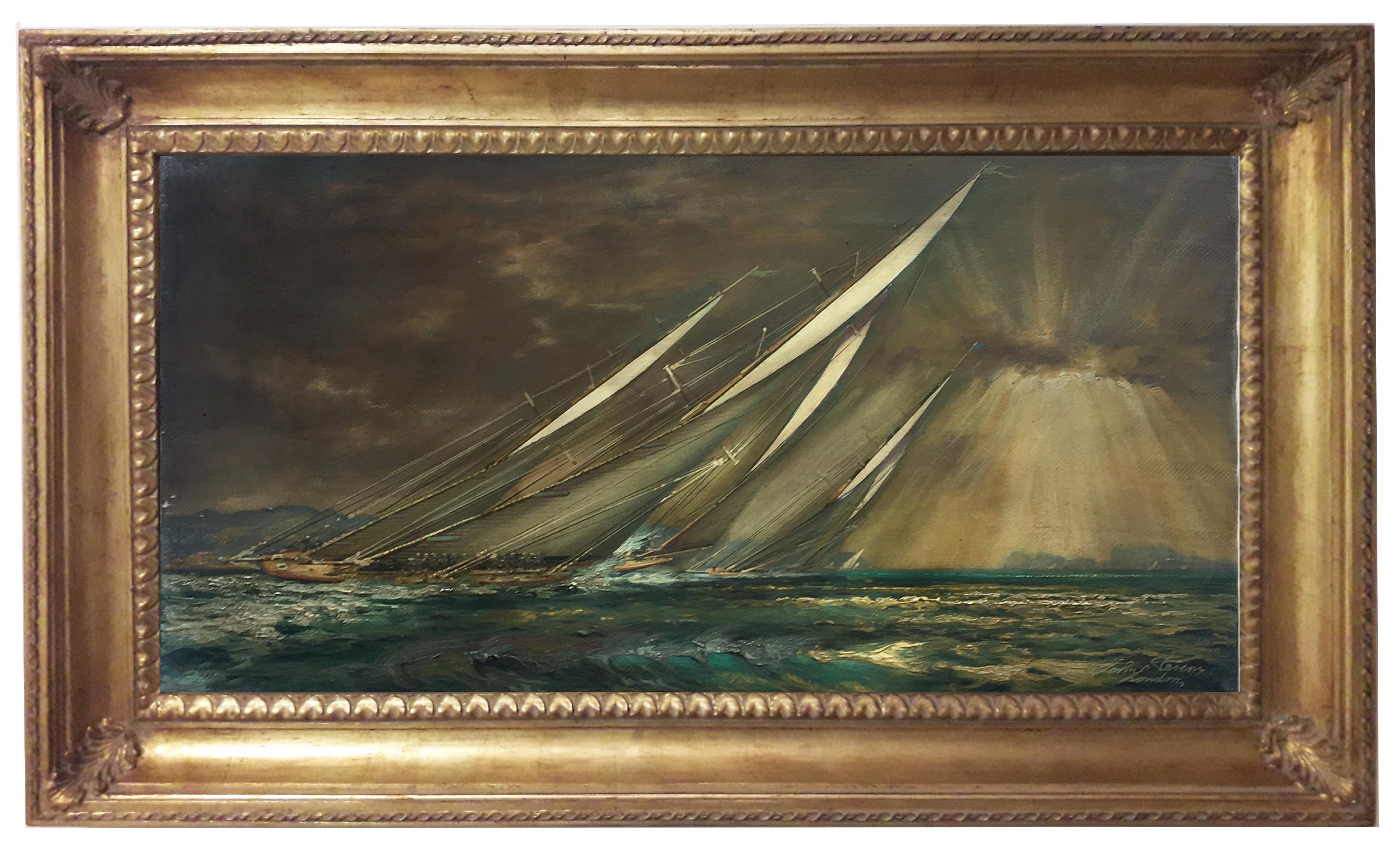 REGATTA IN THE GULF -English School  Italian Sealing boat Oil on canvas Painting