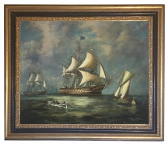 Sailers - John Stevens Italian Sailing Boat Oil on Canvas Painting