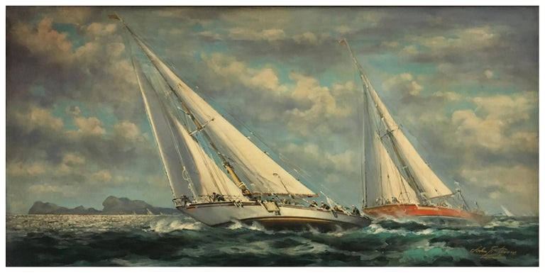 SAILING - English School -Italian Sailing Boat Oil on Canvas Painting,  - Gray Landscape Painting by John Stevens