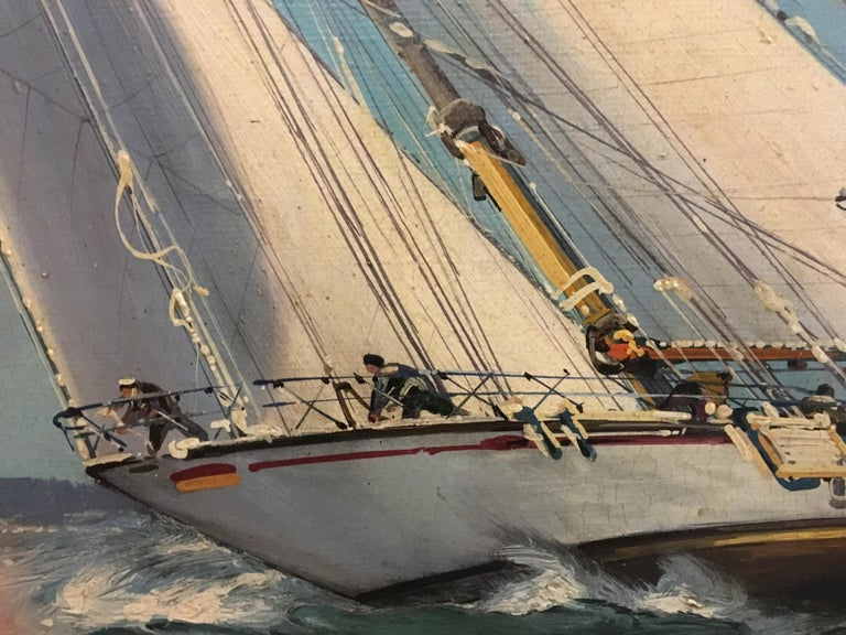 Sailing - John Stevens Italia 2006 - Oil on canvas cm. 60x120. Mahogany laquered wooden frame cm. 78 x 138  John Stevens, using subtle washes of oil paint, slowly builds his highly detailed paintings of sea battle scenes and rolling sails.  He took