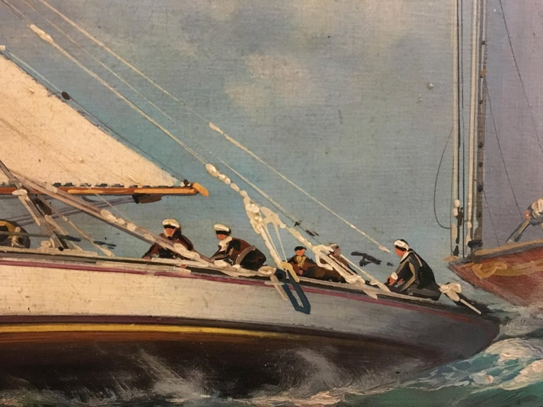SAILING - English School -Italian Sailing Boat Oil on Canvas Painting,  For Sale 1