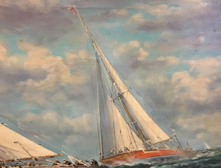 SAILING - Italian sailing boat oil on canvas painting, John Stevens For Sale 1