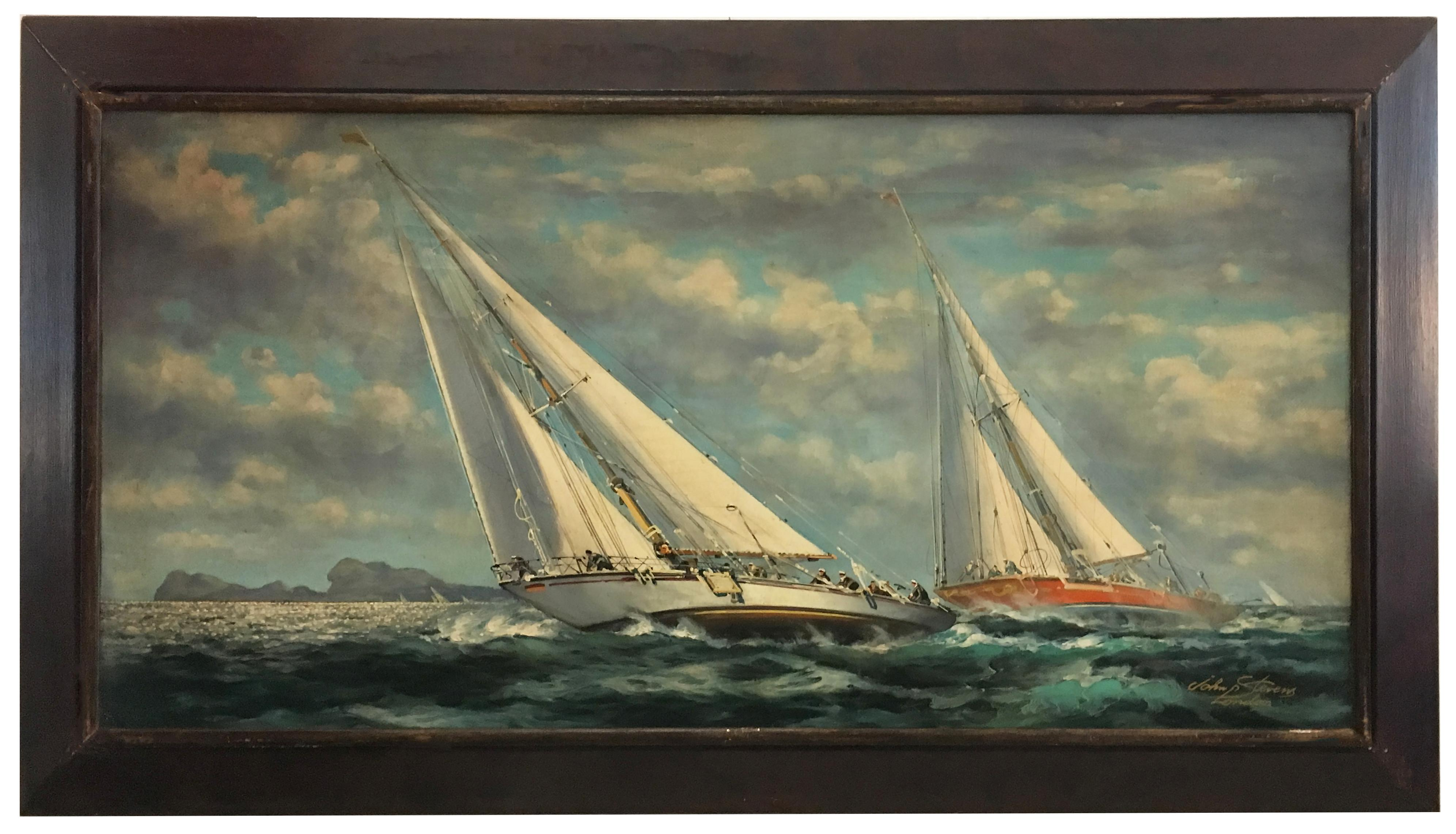 SAILING - English School -Italian Sailing Boat Oil on Canvas Painting,