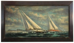 SAILING - Italian sailing boat oil on canvas painting, John Stevens