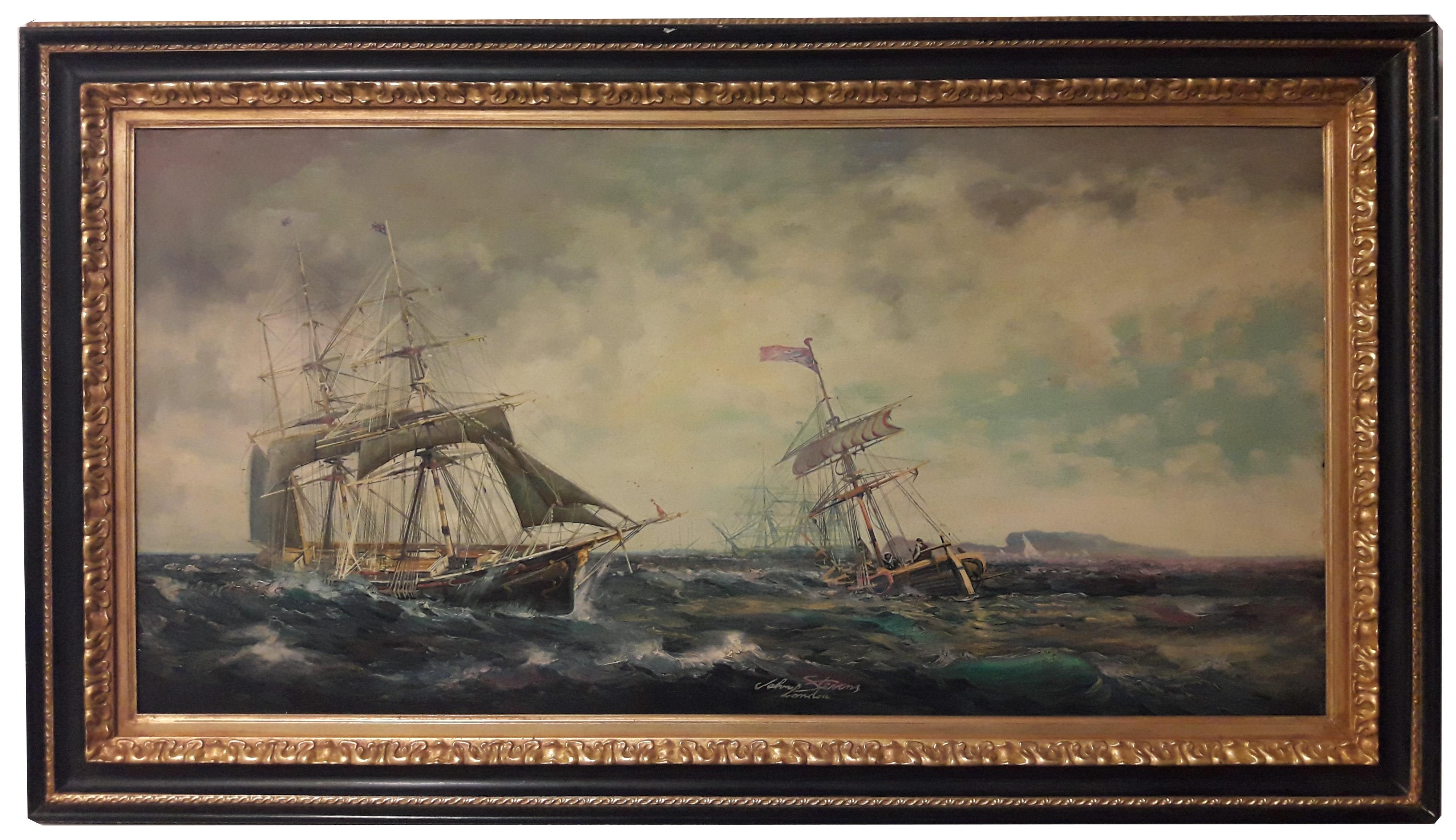 SAILING - English School -  Italian Sailing Boat Oil on canvas Painting