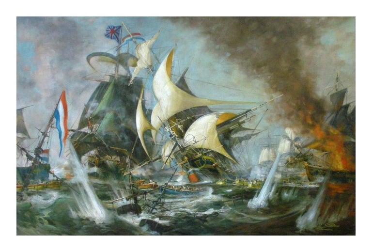 SEA BATTLE - English School - Italian Sailing Boat Oil on Canvas Painting - Gray Landscape Painting by John Stevens