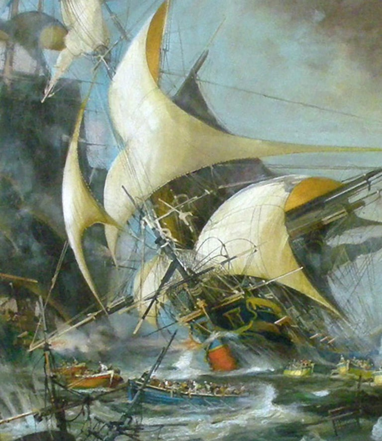 Battleship - John Stevens Italia 2011 - Oil on canvas cm. 100x150 Frame available on request from our workshop.  In this precious oil painting Stevens is inspired by the sea battles of the English painter Derek George Montague Gardner who, after a