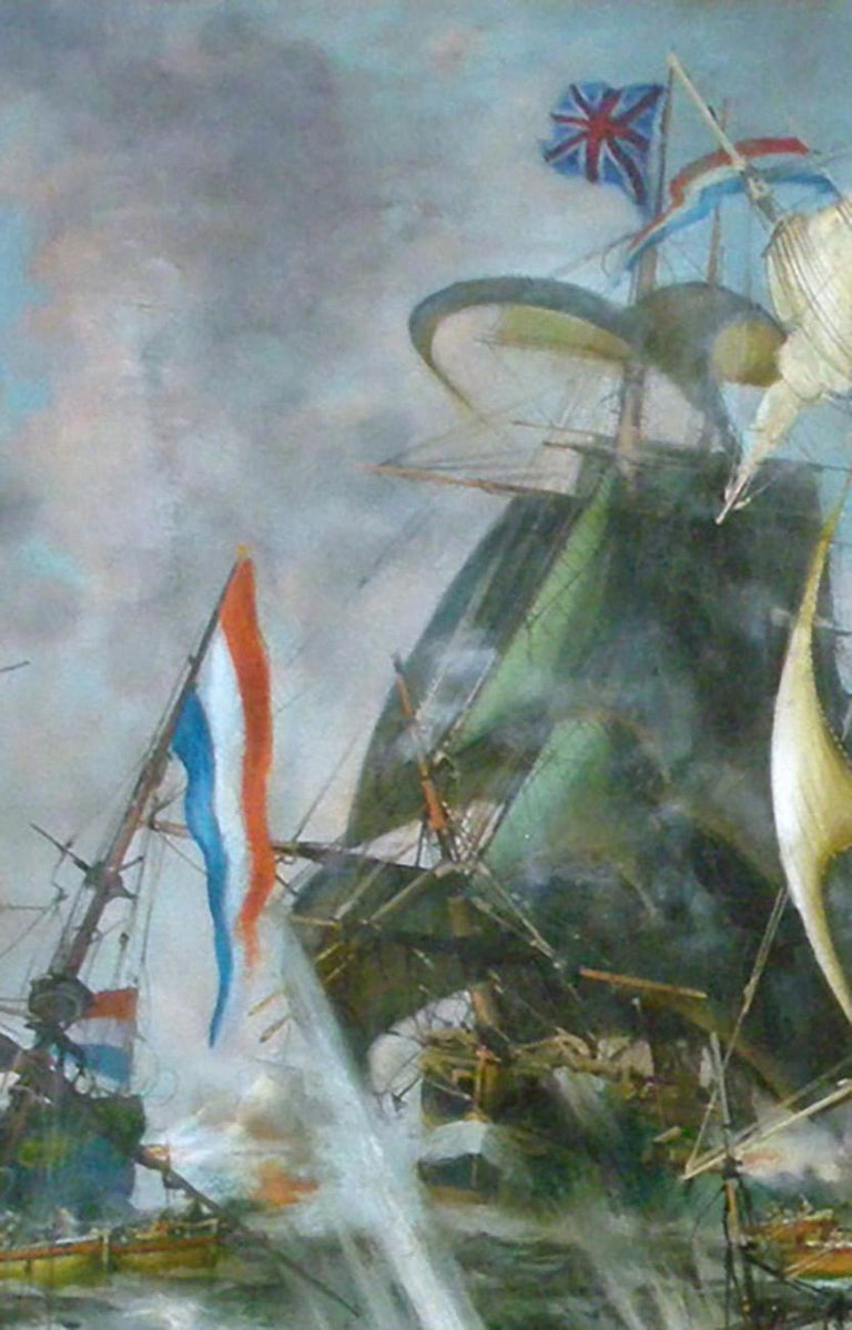 SEA BATTLE - English School - Italian Sailing Boat Oil on Canvas Painting For Sale 1