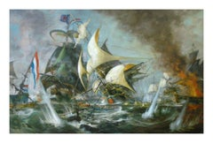 SEA BATTLE - Italian sailing boat oil on canvas painting, John Stevens