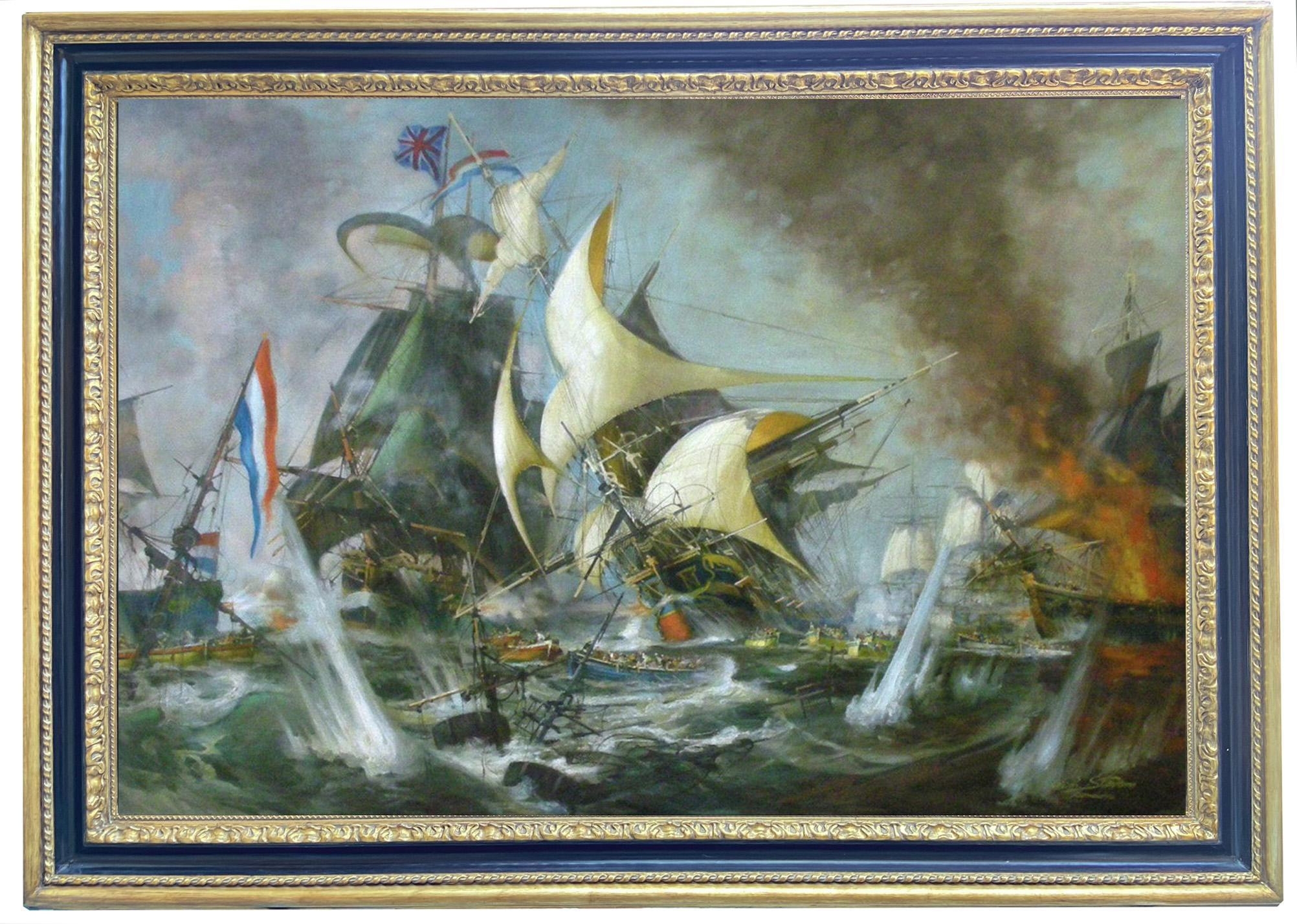 SEA BATTLE - English School - Italian Sailing Boat Oil on Canvas Painting