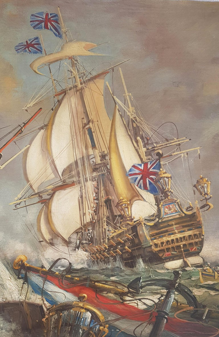 Sea Battle -John  Stevens Italian sailing boat oil on canvas painting For Sale 1