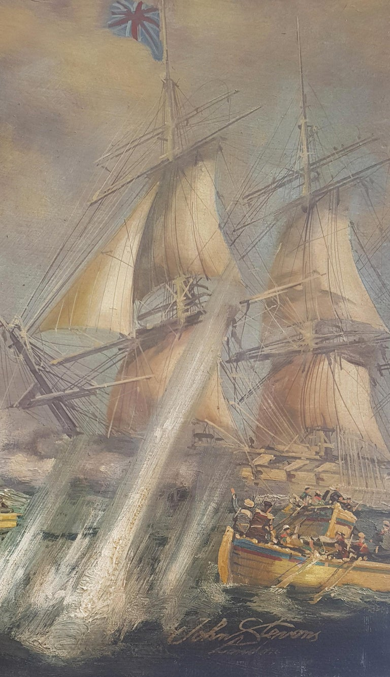 Sea Battle -John  Stevens Italian sailing boat oil on canvas painting For Sale 2