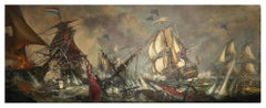 Sea Battle -John  Stevens Italian sailing boat oil on canvas painting