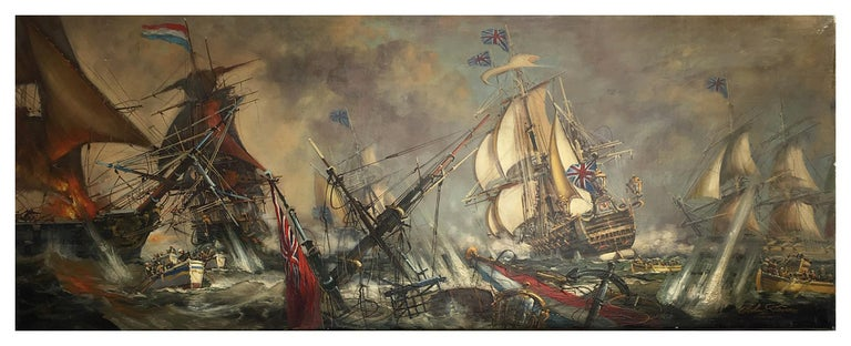 Sea Battle -John  Stevens Italian sailing boat oil on canvas painting - Painting by John Stevens
