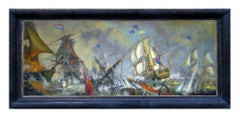 Sea Battle -John  Stevens Italian sailing boat oil on canvas painting