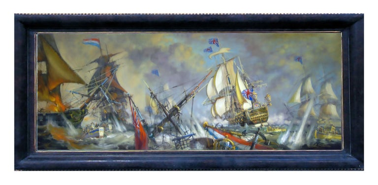 John Stevens Landscape Painting - Sea Battle -John  Stevens Italian sailing boat oil on canvas painting