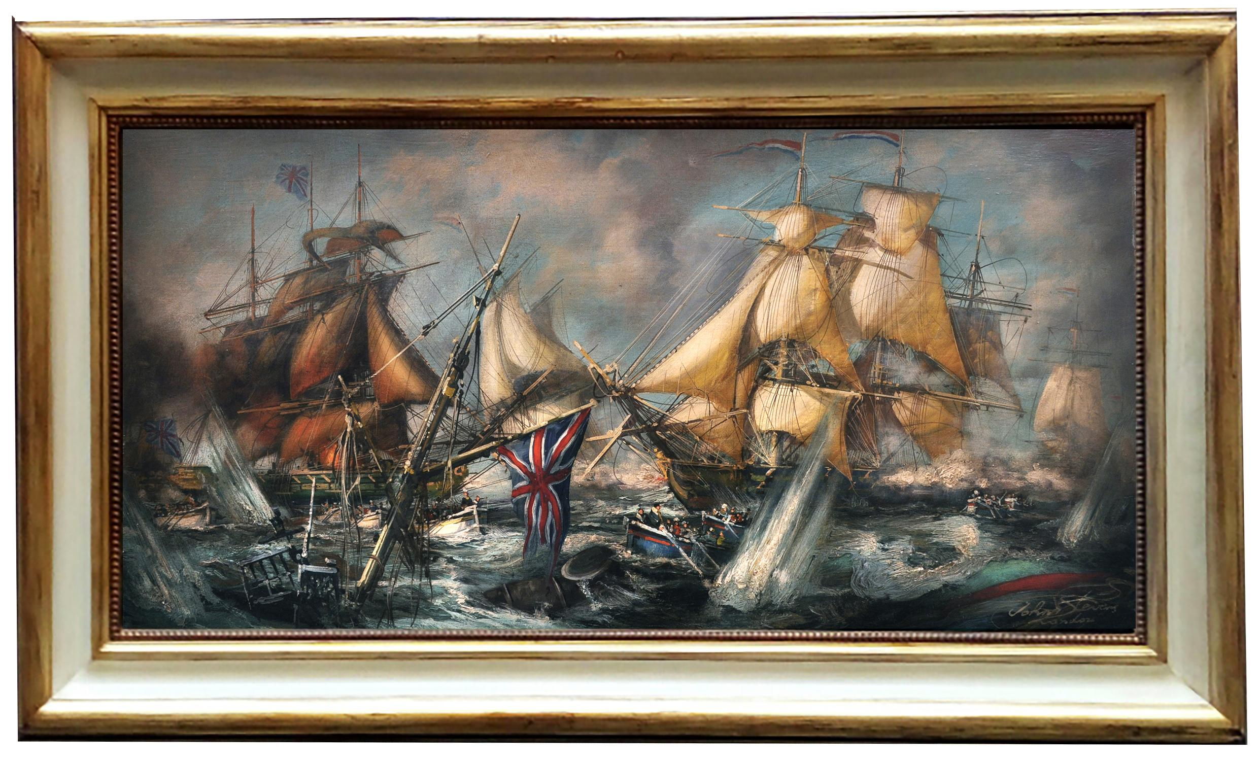 SEA BATTLE - English School -  Italian Sealing Boat Oil on Canvas Painting