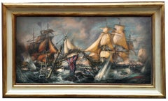 SEA BATTLE - John Stevens Italian sealing boat oil on canvas painting