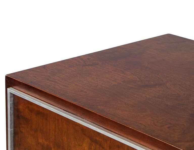 John Stewart Mid Century Modern Chest With Metal Inlay For