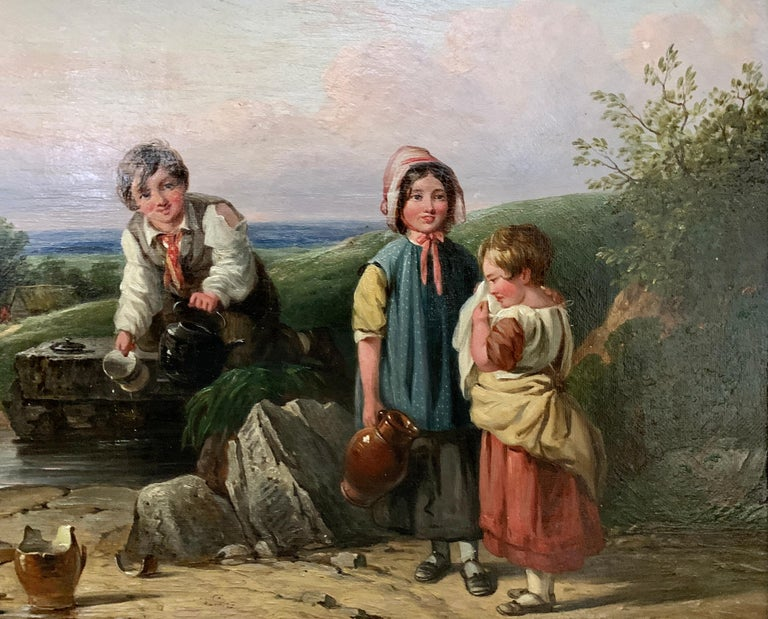 !9th century oil of Children in a landscape by a stream with a cottage in The UK - Painting by John Stewart