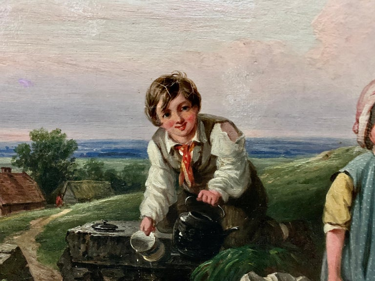 !9th century oil of Children in a landscape by a stream with a cottage in The UK - Victorian Painting by John Stewart