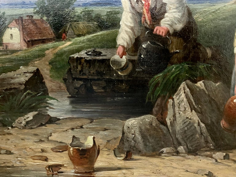 !9th century oil of Children in a landscape by a stream with a cottage in The UK - Brown Figurative Painting by John Stewart