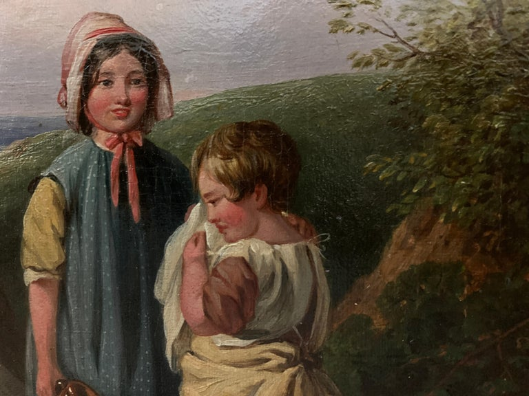 !9th century oil of Children in a landscape by a stream with a cottage in The UK For Sale 2