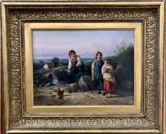 !9th century oil of Children in a landscape by a stream with a cottage in The UK