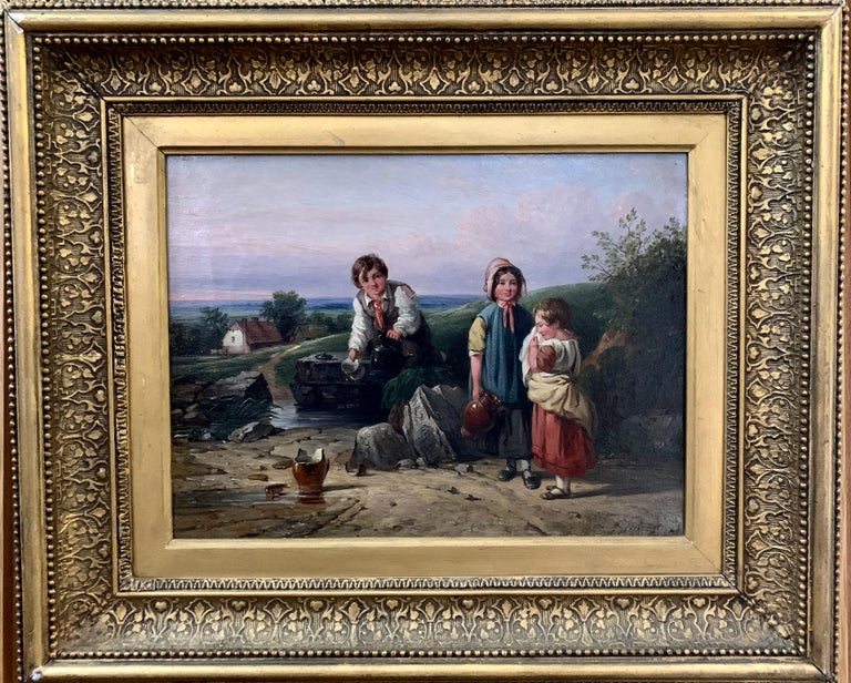 John Stewart Figurative Painting - !9th century oil of Children in a landscape by a stream with a cottage in The UK