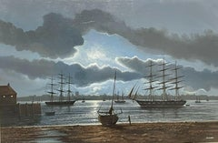 Large Maritime Oil Painting Classic Sailing Ships Moored at Moonlight Harbour