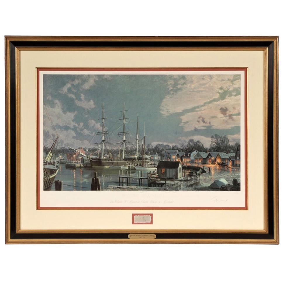 "John Stobart Lithograph ""Mystic Seaport. ""The Charles L. Morgan"" at Chubb's Wha"