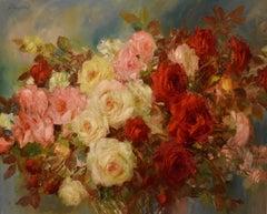 """Oil Painting Still-Life """"June Roses"""" by John Strevens"""