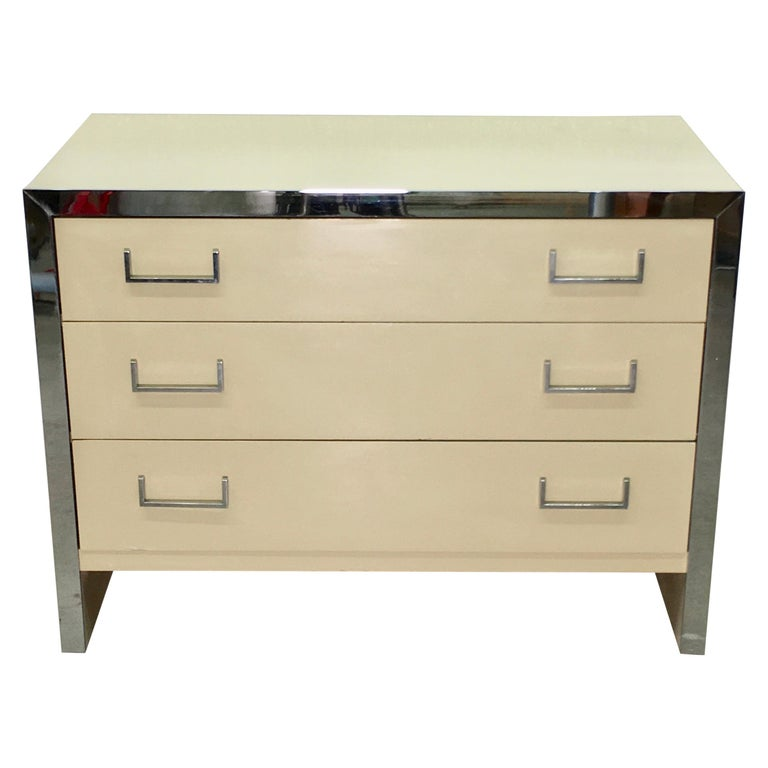 John Stuart Chrome and Lacquered Chest of Drawers For Sale