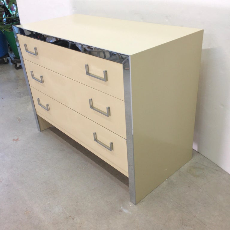 American John Stuart Chrome and Lacquered Chest of Drawers For Sale