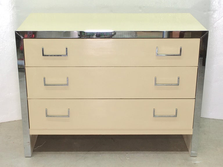 Late 20th Century John Stuart Chrome and Lacquered Chest of Drawers For Sale