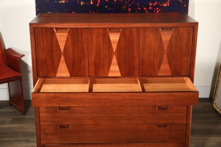 John Stuart for Janus Collection Walnut Highboy Dresser, Fully Restored For Sale 5