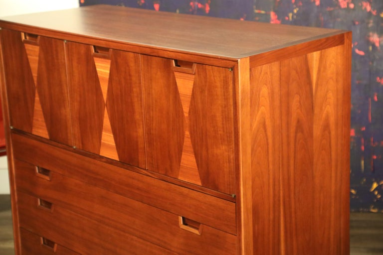 John Stuart for Janus Collection Walnut Highboy Dresser, Fully Restored For Sale 7