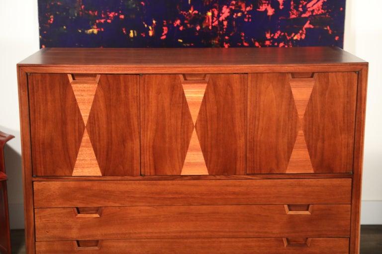 John Stuart for Janus Collection Walnut Highboy Dresser, Fully Restored For Sale 3