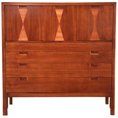 John Stuart for Janus Collection Walnut Highboy Dresser, Fully Restored