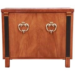 John Stuart Hollywood Regency Walnut and Burl Wood Buffet Server or Bar Cabinet