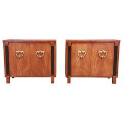 John Stuart Hollywood Regency Walnut and Burl Wood Servers or Bar Cabinets, Pair