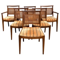 John Stuart Inc. Set of Six Mid-Century Modern Walnut Dining Chairs