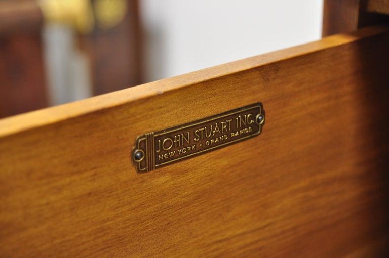 John Stuart Mid-Century Modern Art Deco Birch Chest Dresser Sculpted Bronze Pull For Sale 5