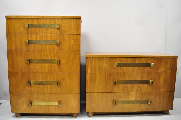 John Stuart Mid-Century Modern Art Deco Birch Chest Dresser Sculpted Bronze Pull For Sale 6
