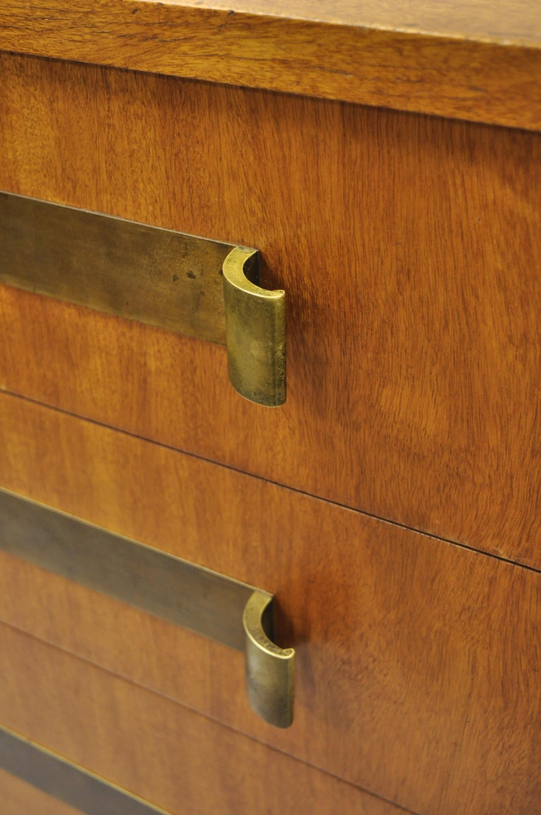 North American John Stuart Mid-Century Modern Art Deco Birch Chest Dresser Sculpted Bronze Pull For Sale
