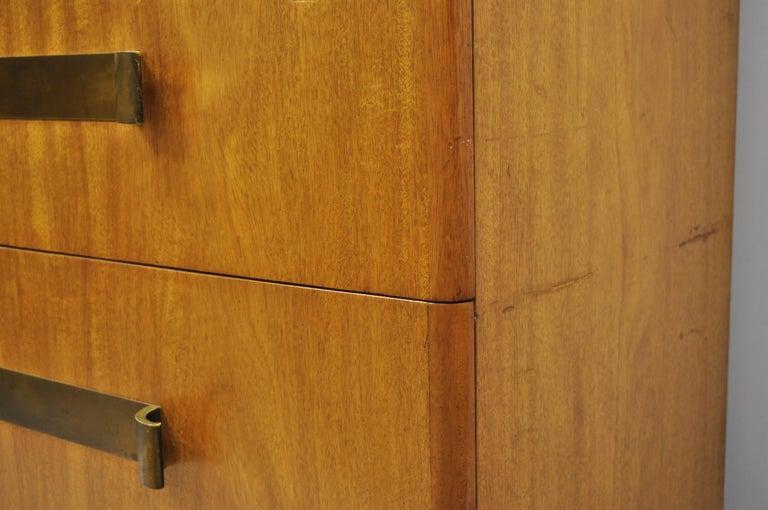 20th Century John Stuart Mid-Century Modern Art Deco Birch Chest Dresser Sculpted Bronze Pull For Sale
