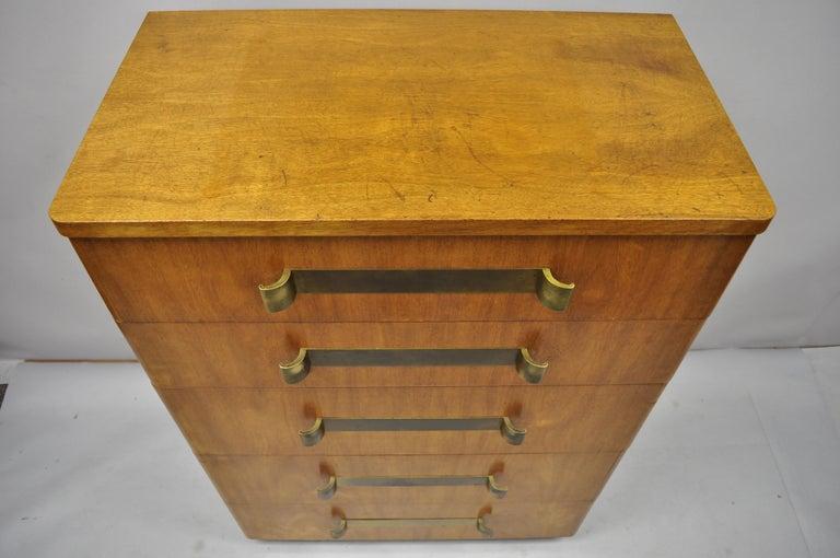 John Stuart Mid-Century Modern Art Deco Birch Chest Dresser Sculpted Bronze Pull For Sale 1